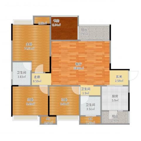 科艺花漾年4室1厅4卫2厨125.00㎡户型图