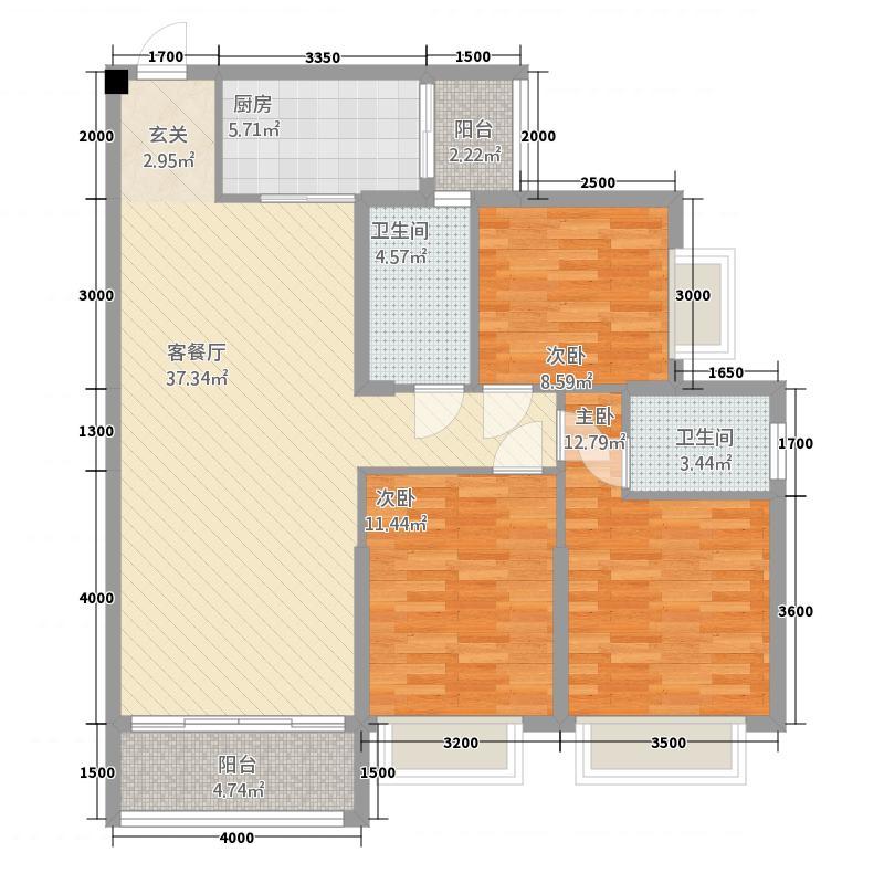 惠丰瑞城153121.63㎡二期15栋G3户型3室2厅2卫1厨