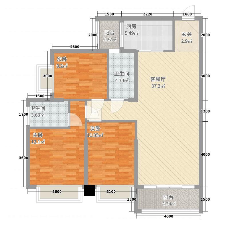 惠丰瑞城152121.78㎡二期15栋G2户型3室2厅2卫1厨