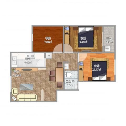 盘城新居3室1厅1卫1厨81.00㎡户型图