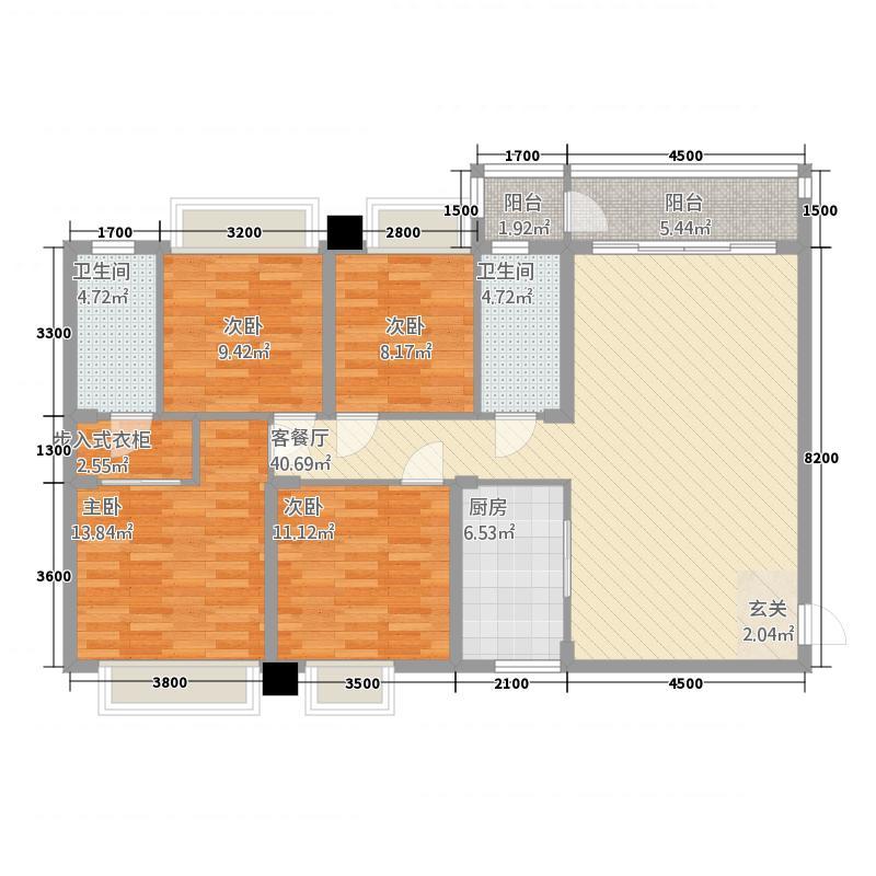 惠丰瑞城151146.13㎡二期15栋G1户型4室2厅2卫1厨