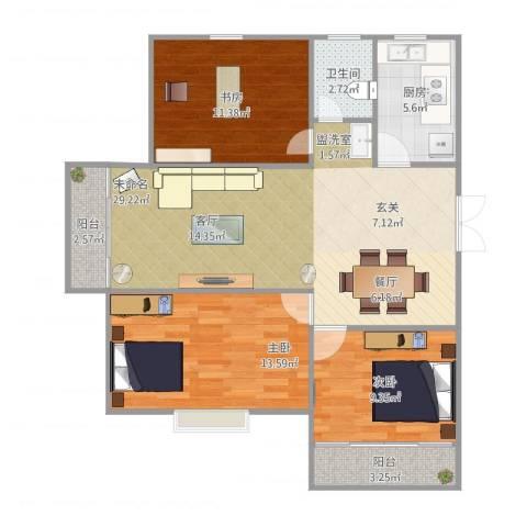 郁金蓝湾3室1厅1卫1厨105.00㎡户型图