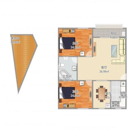 凤凰花园2室2厅1卫1厨122.00㎡户型图