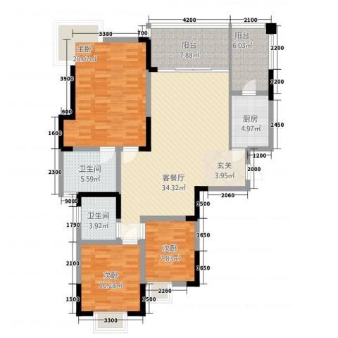 筑境100二期3室1厅2卫1厨1211.00㎡户型图
