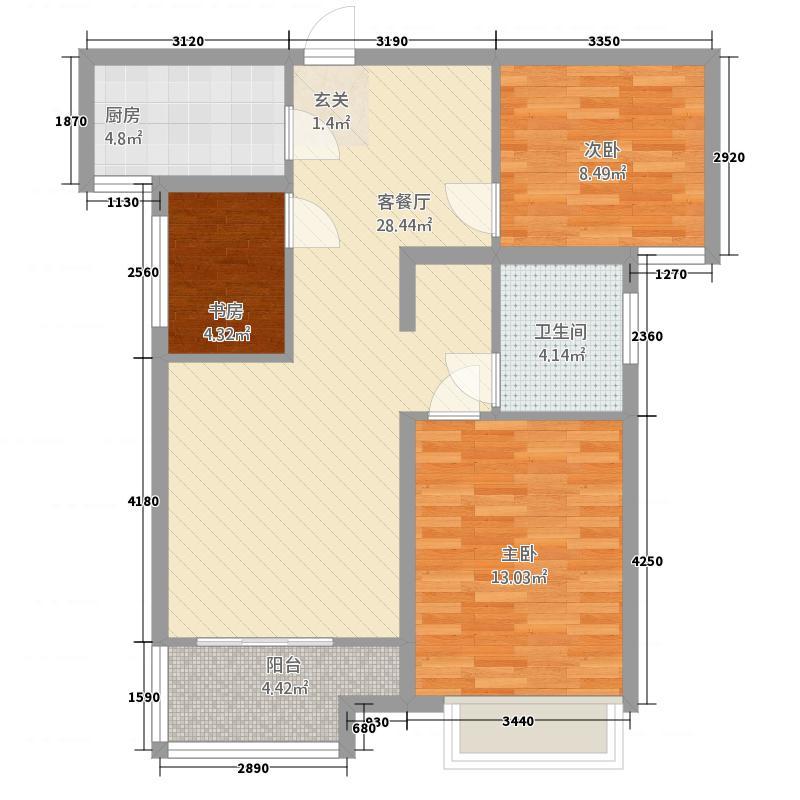 民生・美庐印象6.32㎡高层J户型3室2厅1卫1厨