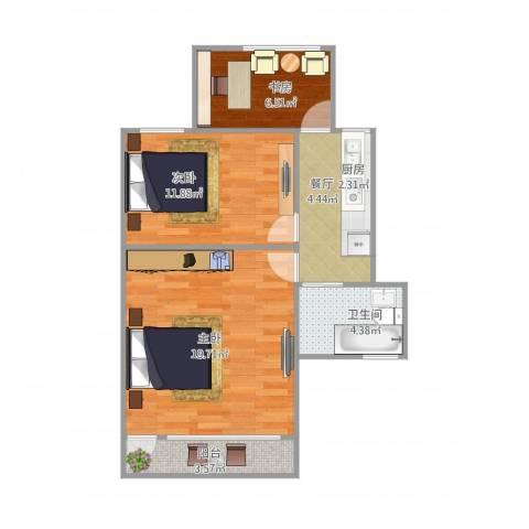 梅陇十一村42.5023室1厅1卫1厨72.00㎡户型图