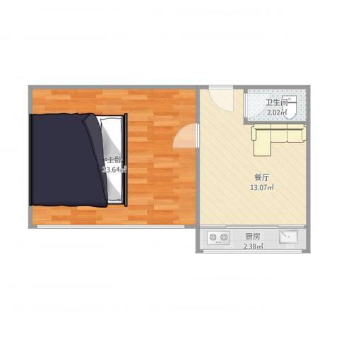 孙家沟1室1厅1卫1厨44.14㎡户型图