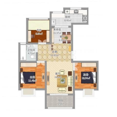 复地新都国际3室1厅1卫1厨116.00㎡户型图