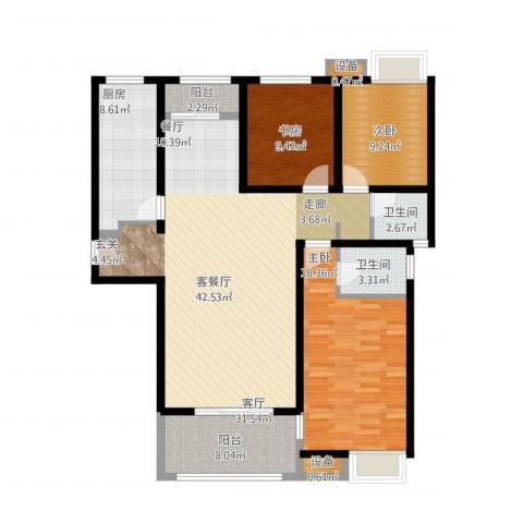 三星凤凰府3室1厅2卫1厨152.00㎡户型图