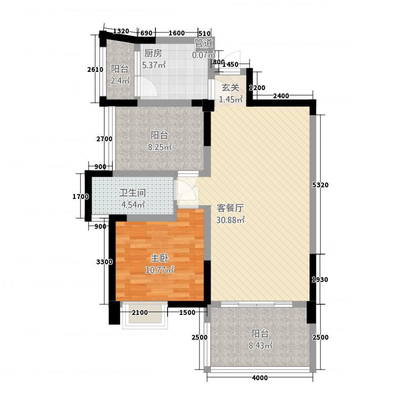 罗浮南山美庐2283.20㎡H-户型2室2厅1卫1厨