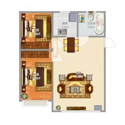 淮海青年城2室1厅1卫1厨62.00㎡户型图