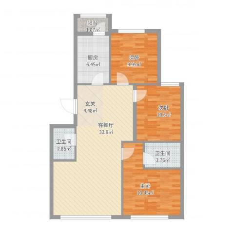 郁花园一里3室1厅2卫1厨114.00㎡户型图