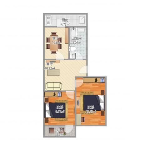 闵子骞路单位宿舍2室2厅1卫1厨73.00㎡户型图