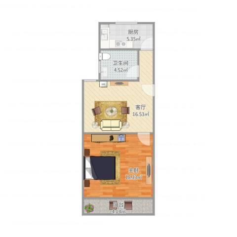 东陆四街坊1室1厅1卫1厨66.00㎡户型图