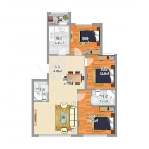 郁花园一里3室1厅2卫1厨113.00㎡户型图
