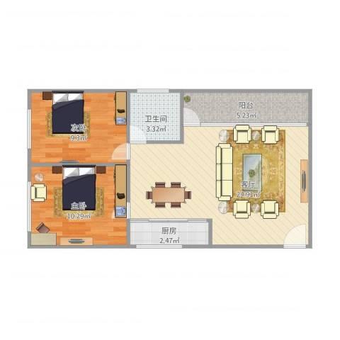 侨怡苑2室1厅1卫1厨75.00㎡户型图