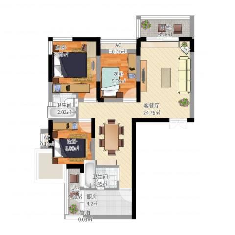 复兴路甲65院3室1厅5卫1厨90.00㎡户型图