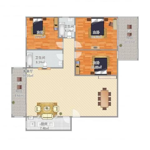 金辉园3室1厅2卫1厨192.00㎡户型图