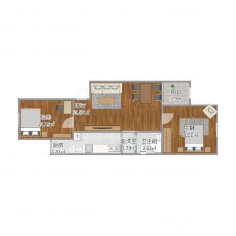 望京西园一区109-22室2厅1卫1厨75.00㎡户型图