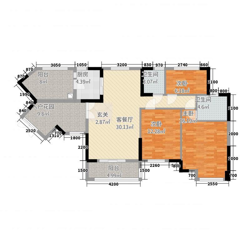 金色维也纳3116.66㎡H户型3室2厅2卫1厨