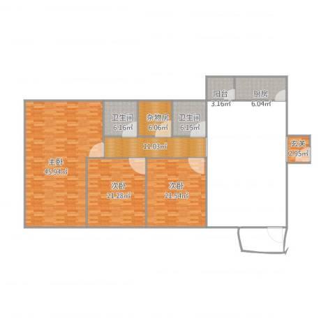 中荣大厦12C3室1厅2卫1厨250.00㎡户型图