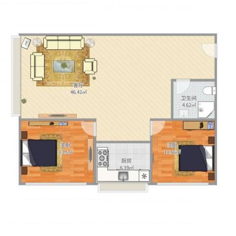 天通苑北三区2室1厅1卫1厨109.00㎡户型图