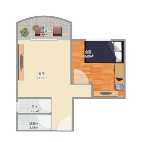 鸿翔大厦1室1厅1卫1厨70.00㎡户型图