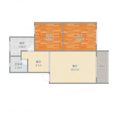 思凡馨苑2室2厅1卫1厨85.00㎡户型图