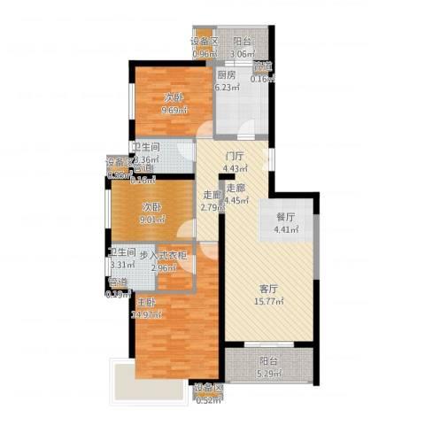 金隅香溪家园3室1厅2卫1厨133.00㎡户型图