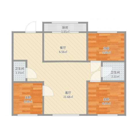 绿香花园3室2厅2卫1厨68.00㎡户型图