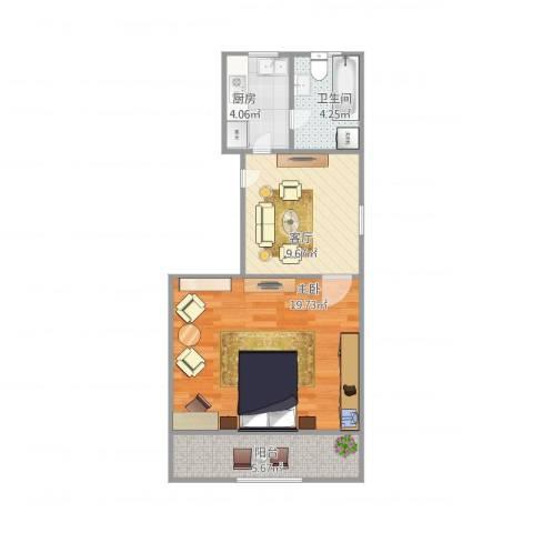 罗山七村1室1厅1卫1厨59.00㎡户型图