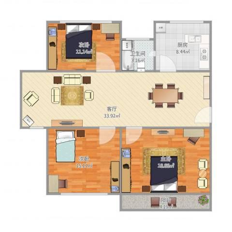 香山新村东北街坊3室1厅1卫1厨126.00㎡户型图