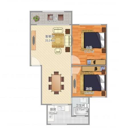鸿基公寓2室1厅1卫1厨110.00㎡户型图