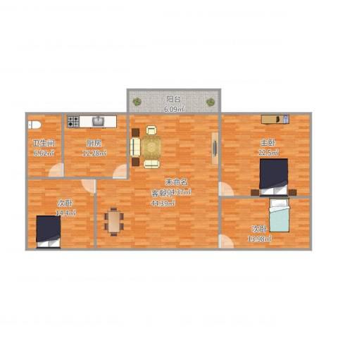 嘉福楼3室1厅1卫1厨159.00㎡户型图