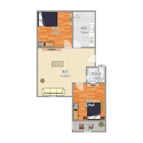 香山新村东北街坊2室1厅1卫1厨81.00㎡户型图