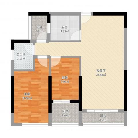 长安地王广场2室1厅1卫1厨90.00㎡户型图