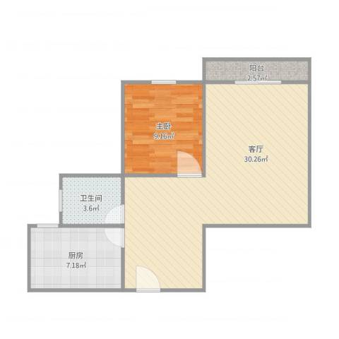 浦江东旭公寓1房1室1厅1卫1厨71.00㎡户型图