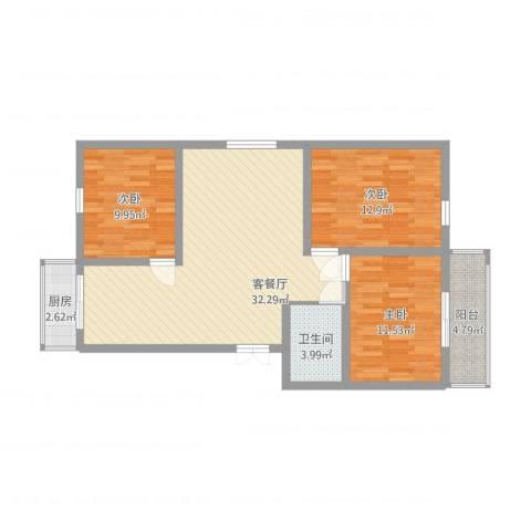 祥和家园3室1厅1卫1厨111.00㎡户型图