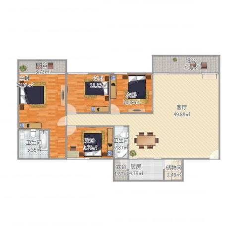 蓝天新苑4室1厅2卫1厨176.00㎡户型图
