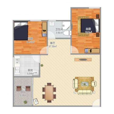 金湖花园2室1厅1卫1厨102.00㎡户型图