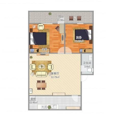 林东花园2室1厅1卫1厨114.00㎡户型图