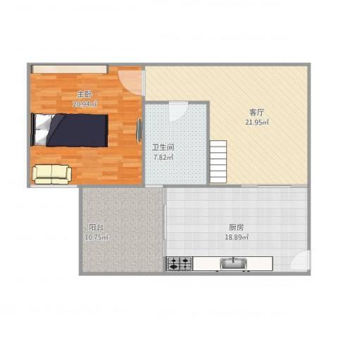 金碧花园1室1厅1卫1厨107.00㎡户型图