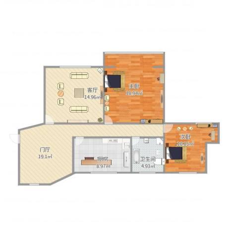 通华大楼2室1厅1卫1厨104.00㎡户型图