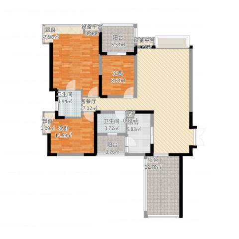 中海兰庭3室1厅2卫1厨163.00㎡户型图