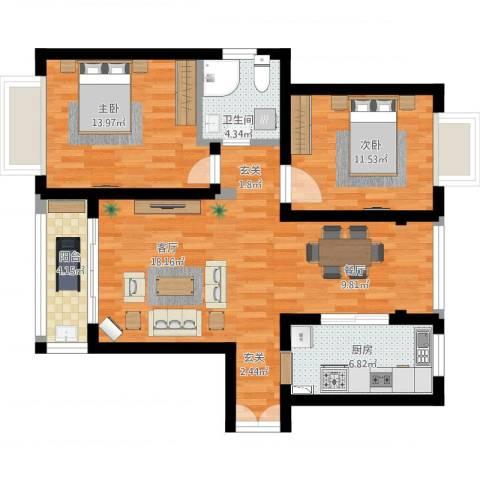 滨江豪园2室1厅1卫1厨101.00㎡户型图
