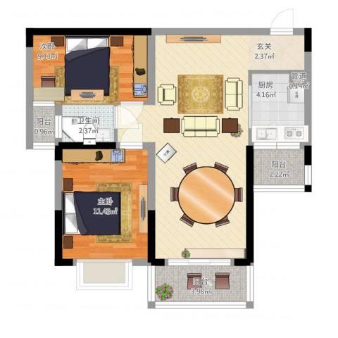 上海城黄浦花苑二期2室1厅1卫1厨92.00㎡户型图