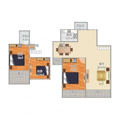 泊林公寓3室1厅2卫1厨211.00㎡户型图