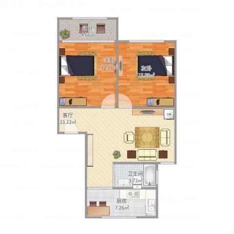 阳光苑(曹路)2室1厅1卫1厨90.00㎡户型图