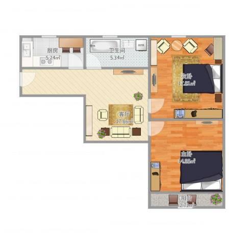 永安新村2室1厅1卫1厨85.00㎡户型图