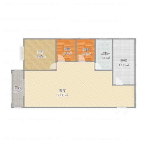 水木清华108㎡--3室3室1厅1卫1厨135.00㎡户型图